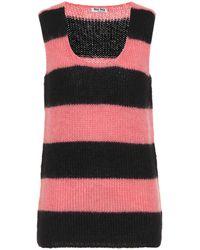 Miu Miu Mohair-blend Jumper Vest - Pink