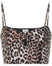 Ganni Leopard-print Bikini Top - Multicolour