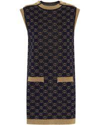 Gucci GG Wool-blend Jacquard Shift Dress - Blue