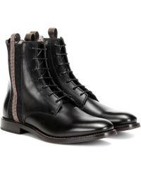 Brunello Cucinelli Embellished Leather Ankle Boots - Black