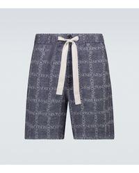 JW Anderson Bedruckte Shorts aus Leinen - Blau