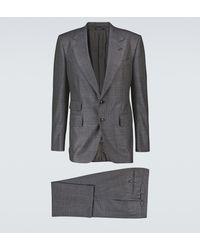 Tom Ford Karierter Anzug aus Wolle und Seide - Grau