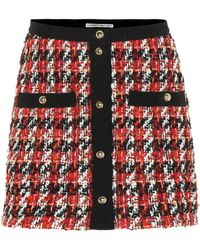 Alessandra Rich - Plaid Wool And Mohair-blend Miniskirt - Lyst