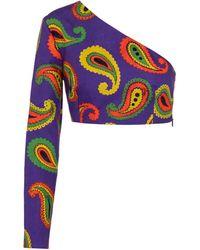 Gucci Top en mezcla de algodón print paisley - Morado