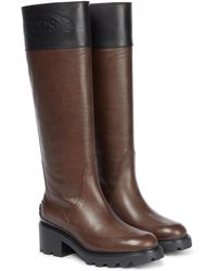 Tod's Knee-high Leather Boots - Brown