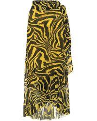 Ganni Exclusive To Mytheresa – Animal-print Wrap Skirt - Yellow
