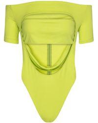 Mugler Body in jersey stretch con cut-out - Verde