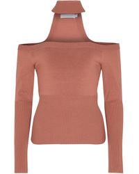 Jonathan Simkhai Lila Ribbed-knit Off-shoulder Jumper - Brown