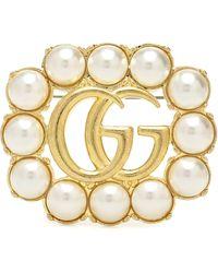 Gucci Broche Doble G con adornos - Metálico