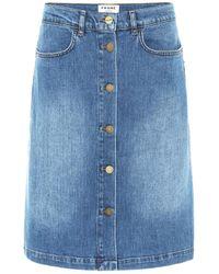 FRAME Vintage Boot Stretch-denim Skirt - Blue
