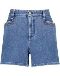 Chloé High-Rise Jeansshorts - Blau
