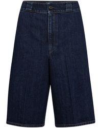 Prada High-rise Denim Bermuda Shorts - Blue