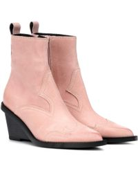 MM6 by Maison Martin Margiela Suede Cowboy Boots - Pink