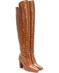Max Mara 100mm Beboot Croc Embossed Leather Boots - Brown
