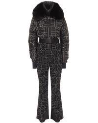 3 MONCLER GRENOBLE Logo Fur-trimmed Down Ski Suit - Black