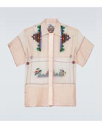 Bode Sheer Cotton Pagoda Printed Shirt - Pink