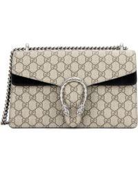 6d55de12b25 Lyst - Gucci Large Floral Gg Supreme Canvas   Suede Shoulder Bag in Pink