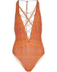 Missoni Badeanzug mit Metallic-Garn - Orange
