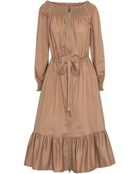 Moncler Off-shoulder Cotton Midi Dress - Natural