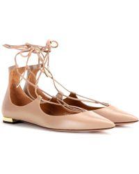 Aquazzura - Christy Flat Leather Ballerinas - Lyst