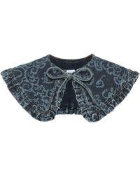 Ganni Printed Denim Collar - Blue