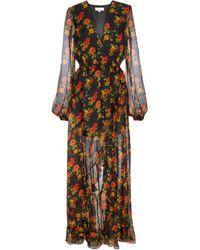 Caroline Constas Liv Floral Silk Chiffon Maxi Dress - Black