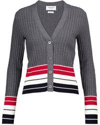 Thom Browne Striped Cotton Cardigan - Grey