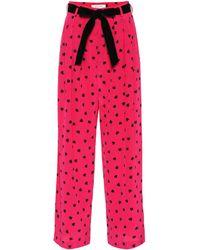 Valentino Hose mit weitem Bein aus Seide - Pink