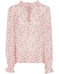 Ganni Blusa de georgette floral - Blanco
