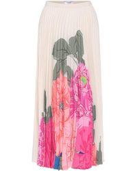 Valentino Pleated Silk Floral Midi Skirt - Pink