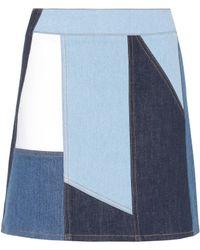 Victoria, Victoria Beckham - Patchwork Denim Skirt - Lyst