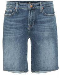 7 For All Mankind Easy Stretch-denim Shorts - Blue