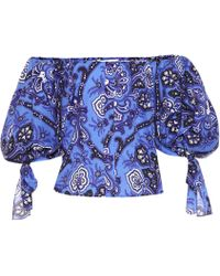 Caroline Constas Nella Printed Stretch Cotton Top - Blue