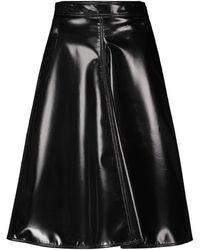 Moncler Genius 2 Moncler 1952 Faux Leather Midi Skirt - Black