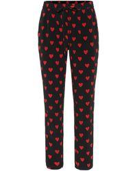 RED Valentino Bedruckte Hose aus Seide - Schwarz