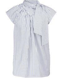 Victoria, Victoria Beckham Top rayé à lavallière en coton - Blanc