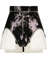 Rick Owens High-rise Sequined Shorts - Black