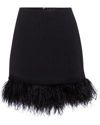David Koma Exclusivo en Mytheresa – minifalda de cady con plumas - Negro