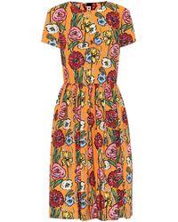 Marni Vestido midi de algodón estampado - Naranja