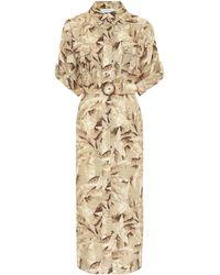 Zimmermann Super Eight Safari Linen Midi Dress - Natural
