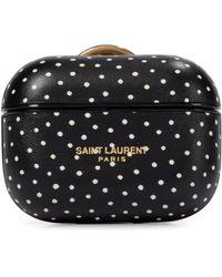 Saint Laurent Polka-dot Leather Airpods Pro Case - Black