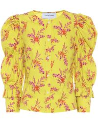 Les Rêveries Exclusivo en Mytheresa – blusa de popelín de algodón floral - Amarillo