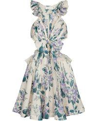 Zimmermann Cassia Floral Linen Minidress - Blue