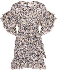 167db480c8d Étoile Isabel Marant Printed Linen Ruffled Dress in Natural - Lyst