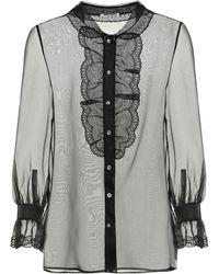 Miu Miu Embellished Silk-organza Blouse - Black