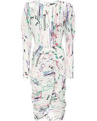 Isabel Marant Vestido midi de seda elastizada - Multicolor