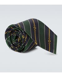 Gucci Corbata Interlocking G de seda en jacquard con cadena - Verde