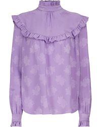 Saint Laurent Camisa de seda con volantes - Morado