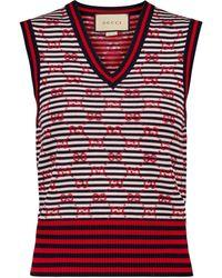 Gucci Chaleco de punto GG de jacquard - Rojo