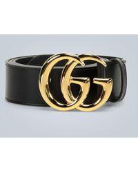 Gucci Ceinture en cuir GG Marmont avec boucle brillante - Noir
